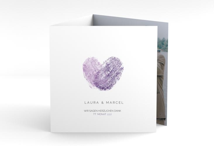 """Dankeskarte Hochzeit """"Fingerprint"""" Quadr. Karte doppelt lila"""