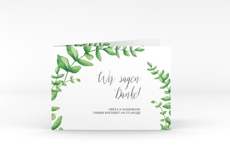 """Danksagungskarte Hochzeit """"Botanic"""" A6 Klappkarte Quer weiss"""