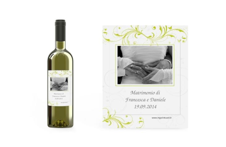 Etichette vino matrimonio collezione Palma Etikett Weinflasche 4er Set verde