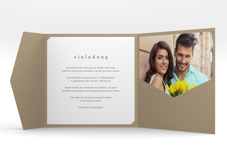 """Hochzeitseinladung """"Minimal"""" Pocketfold"""