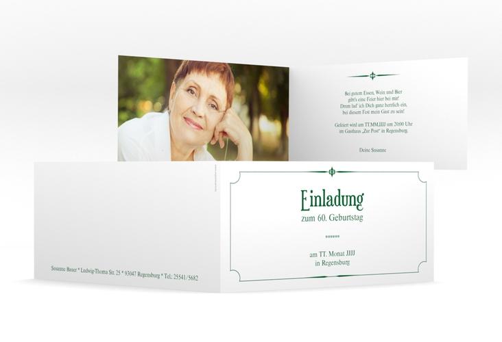 "Einladungskarte ""Helmut/Helmine"" DIN lang Klappkarte gruen"