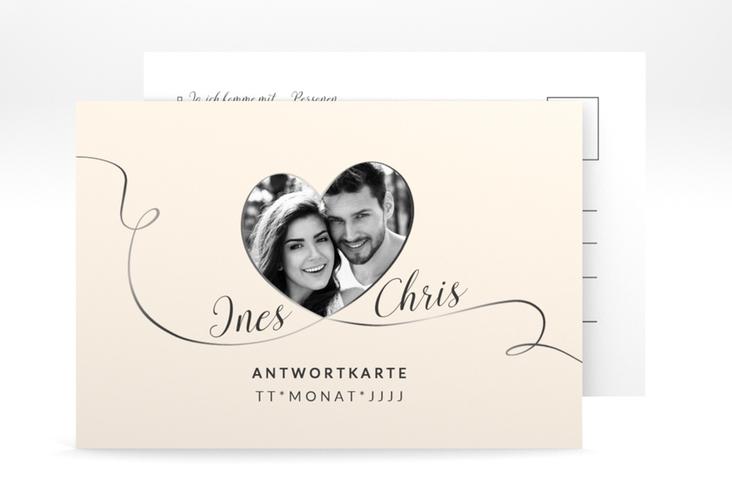 """Antwortkarte Hochzeit """"Dolce"""" A6 Postkarte beige"""