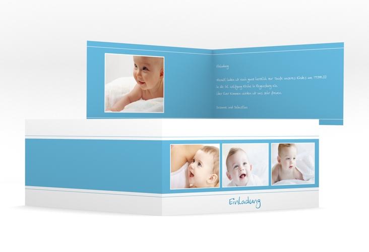 "Einladungskarte Taufe  ""Sunshine"" DIN lang Klappkarte blau"