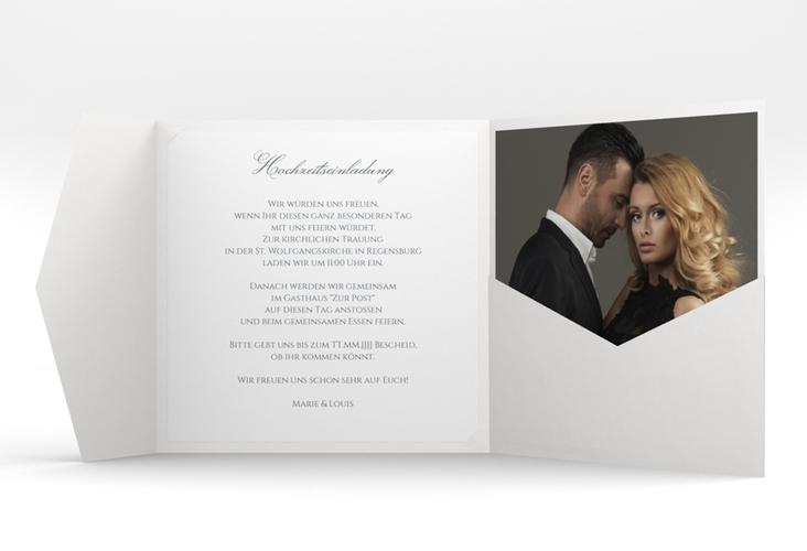 """Hochzeitseinladung """"Pure"""" Pocketfold grau"""