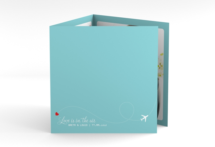 "Dankeskarte Hochzeit ""Weddingpass"" Quadr. Karte doppelt blau"