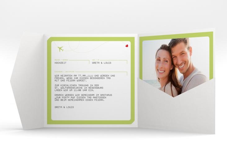 """Hochzeitseinladung """"Weddingpass"""" Pocketfold gruen"""