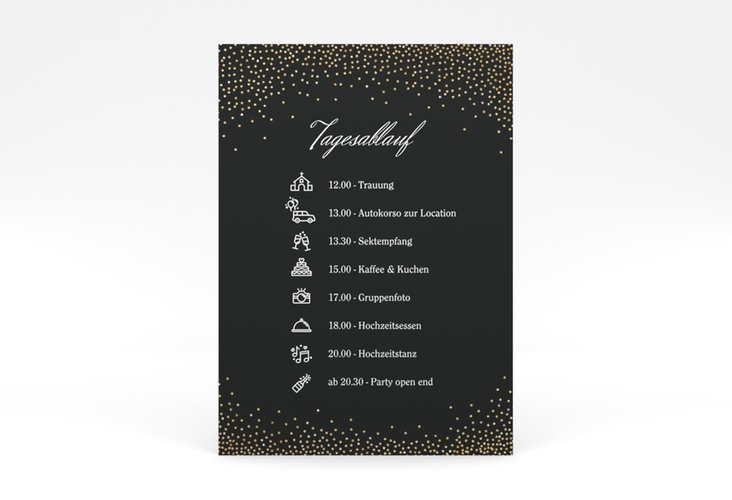 """Tagesablauf Poster Hochzeit """"Glitter"""" 50 x 70 cm Poster schwarz"""