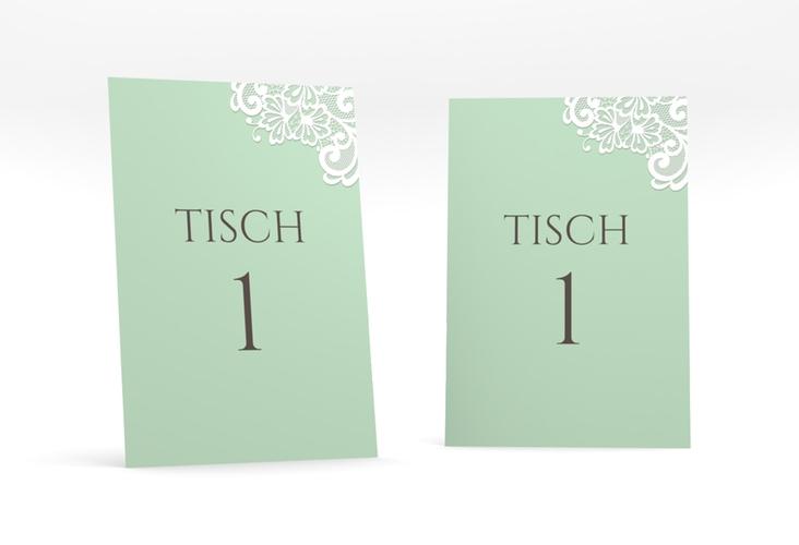 """Tischnummer Hochzeit """"Vintage"""" Tischaufsteller mint"""
