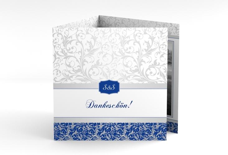 "Dankeskarte Hochzeit ""Latina"" Quadr. Karte doppelt blau"