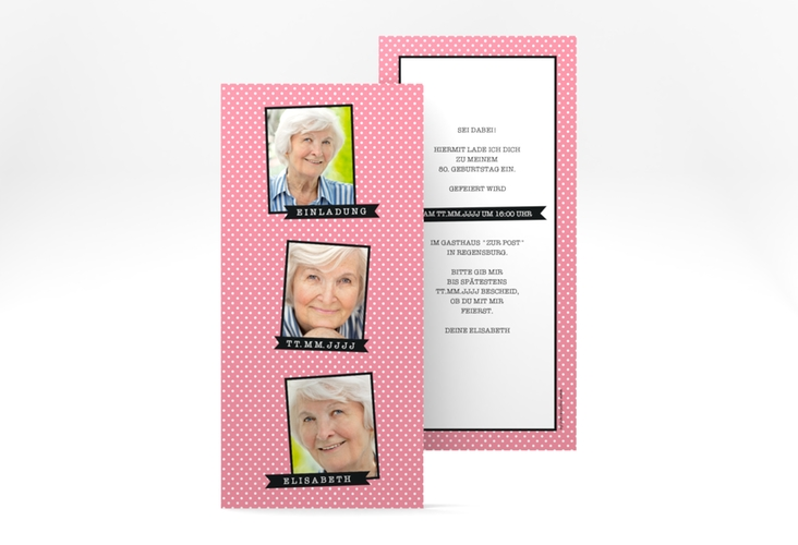 "Einladungskarte ""Polkadots"" DIN lang hoch"