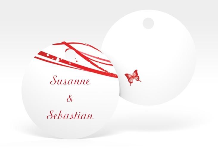 """Geschenkanhänger Hochzeit """"Mailand"""" Geschenkanhänger, rund rot"""