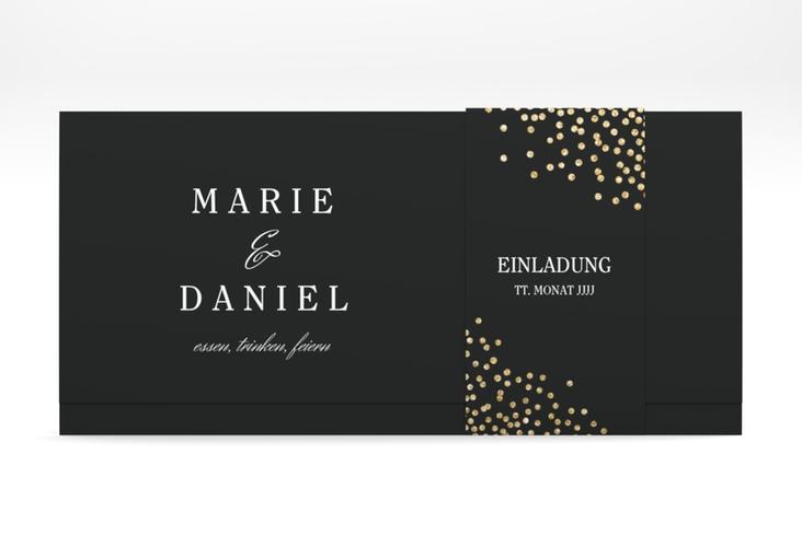 """Hochzeitseinladung """"Glitter"""" DIN lang Wickelfalz schwarz"""