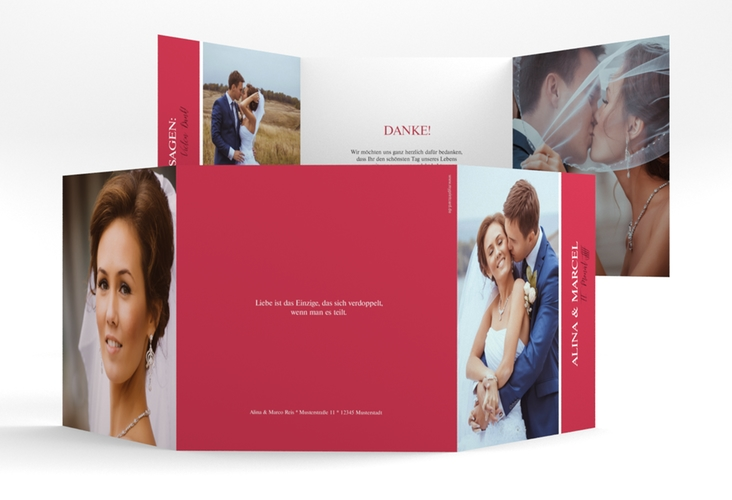 "Dankeskarte Hochzeit ""Classic"" Quadr. Karte doppelt rot"