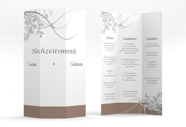 """Menükarte Hochzeit """"Florenz"""" DIN A4 Wickelfalz braun"""