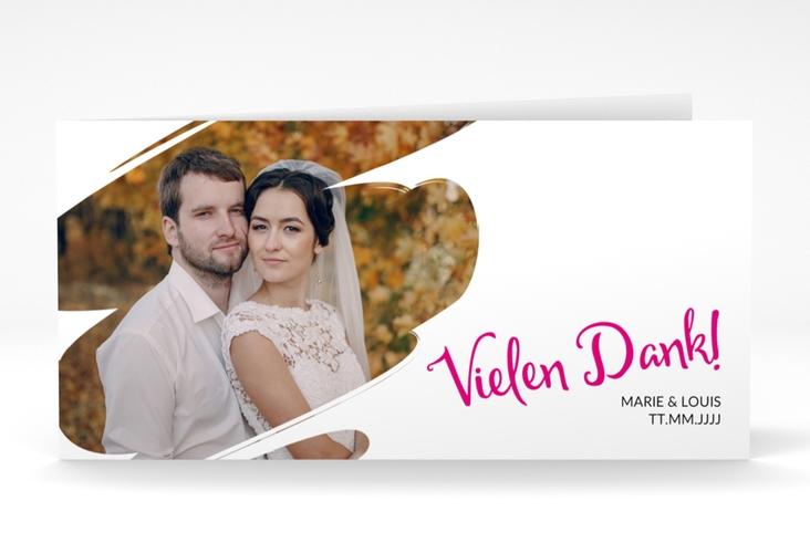 """Dankeskarte Hochzeit  """"Felice"""" DIN lang Klappkarte pink"""
