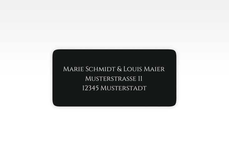 """Absenderetikett Hochzeit """"Elegancy"""" 45,7 x 21,2 mm schwarz"""