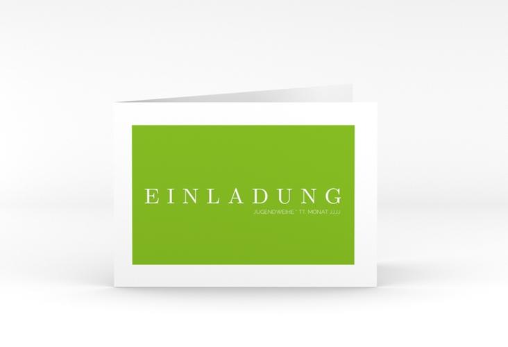 "Einladung Jugendweihe ""Simple"" A6 Klappkarte Quer gruen"