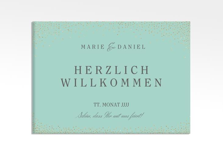 "Willkommensschild Leinwand ""Glitter"" 70 x 50 cm Leinwand mint"
