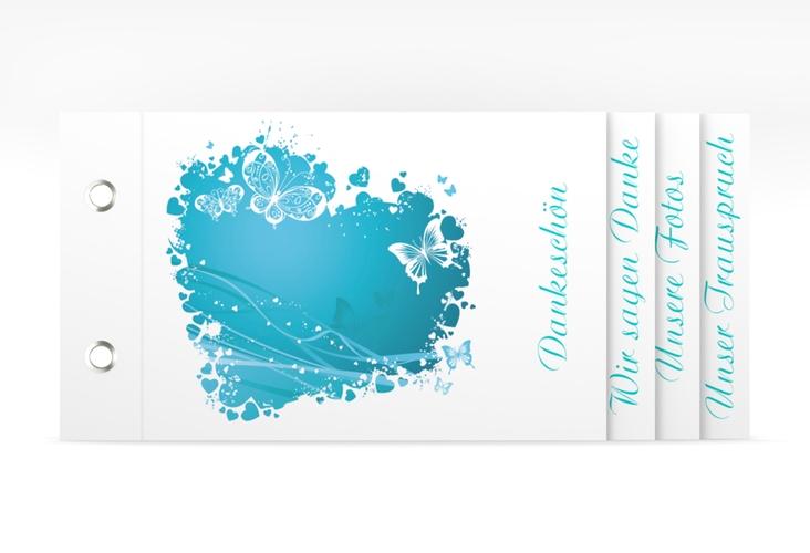 """Danksagungskarte Hochzeit """"Mailand"""" Booklet tuerkis"""