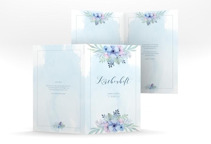 """Kirchenheft Hochzeit """"Surfinia"""" DIN A5 geklappt blau"""