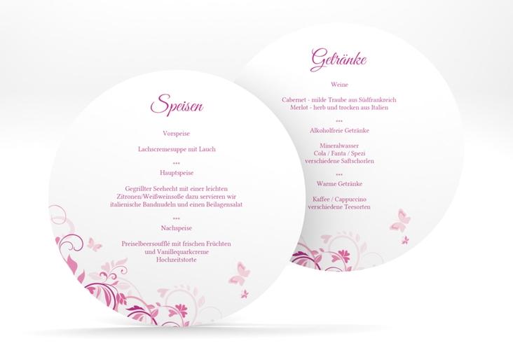 """Menükarte Hochzeit """"Lilly"""" rund pink"""