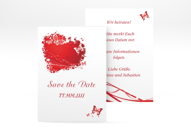 "Save the Date-Visitenkarte ""Mailand"" Visitenkarte rot"