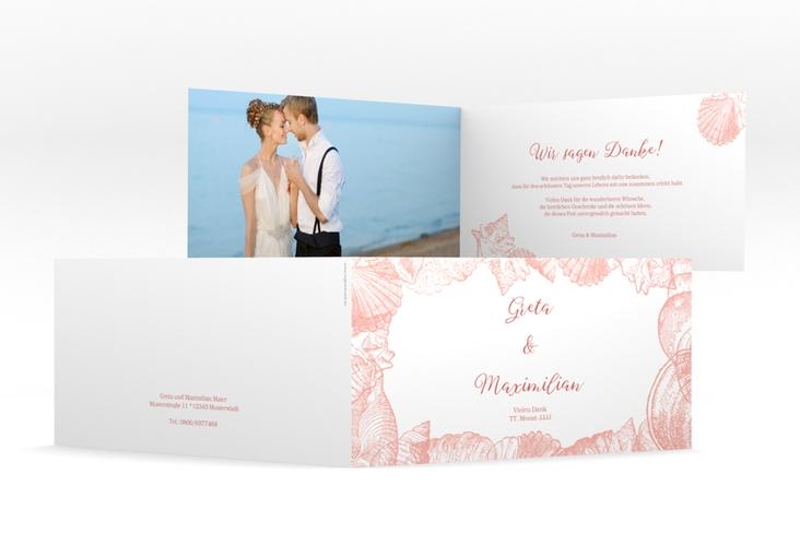 """Dankeskarte Hochzeit """"Muschelreich"""" DIN lang Klappkarte rot"""