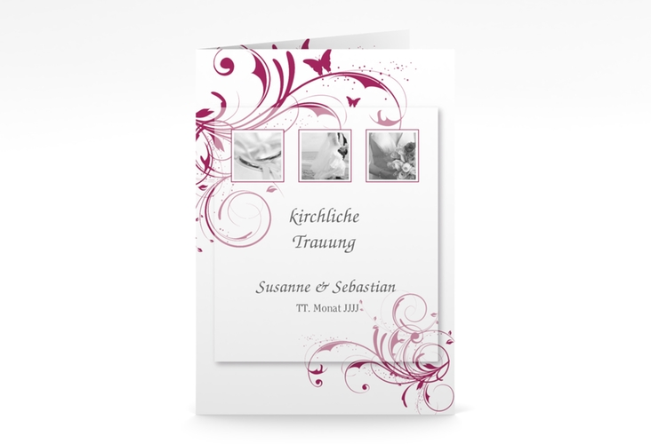 "Kirchenheft Hochzeit ""Palma"" DIN A5 geklappt pink"