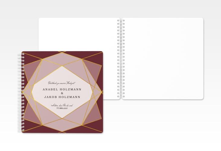 "Gästebuch Hochzeit ""Geometric"" Ringbindung rot"