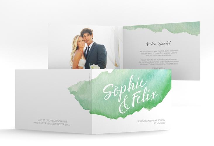 """Danksagungskarte Hochzeit """"Aquarella"""" A6 Klappkarte Quer gruen"""