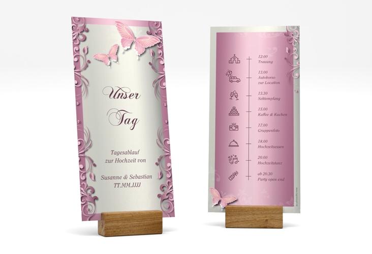 """Tagesablauf Hochzeit """"Toulouse"""" DIN lang hoch rosa"""