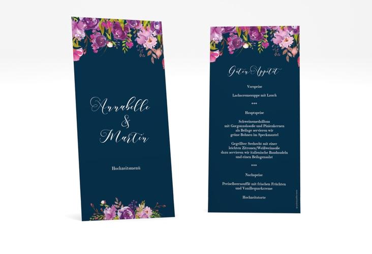 """Menükarte Hochzeit """"Violett"""" DIN lang hoch blau"""