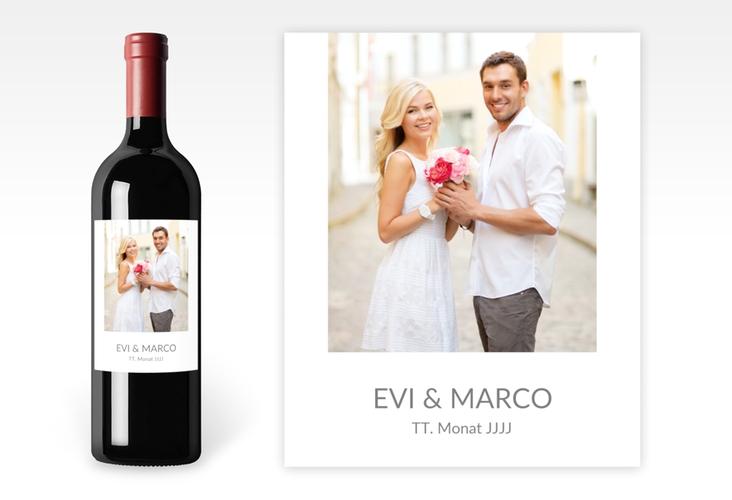 """Weinflaschenetikett Hochzeit """"Vista"""" Etikett Weinflasche 4er Set weiss"""