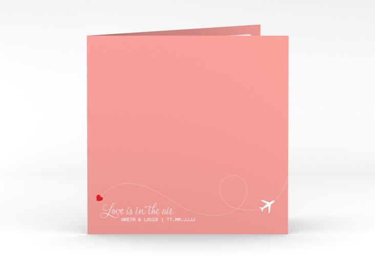 "Hochzeitseinladung ""Weddingpass"" Quadratische Klappkarte rosa"