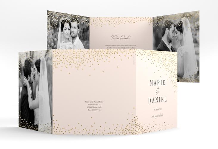 "Dankeskarte Hochzeit ""Glitter"" Quadr. Karte doppelt rosa"
