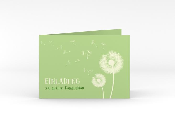 """Einladungskarte Kommunion """"Dandelion"""" A6 Klappkarte Quer gruen"""