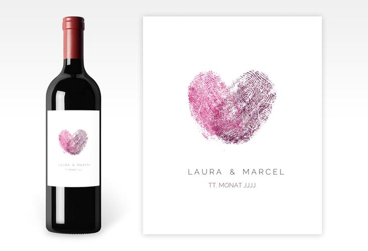 """Weinetikett zur Hochzeit """"Fingerprint"""" Etikett Weinflasche 4er Set pink"""
