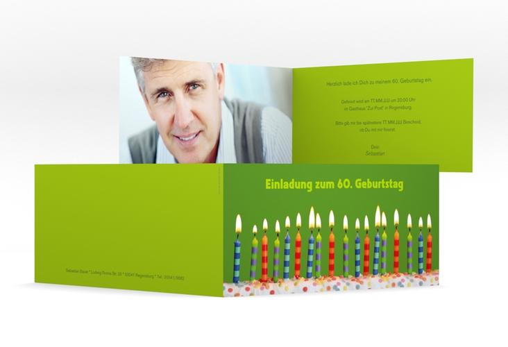"Einladungskarte ""Candles"" DIN lang Klappkarte gruen"