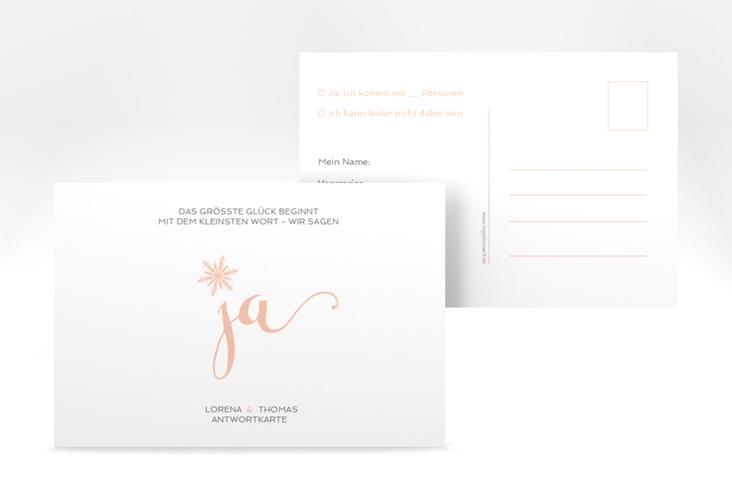 "Antwortkarte Hochzeit ""Snowflake"" A6 Postkarte apricot"
