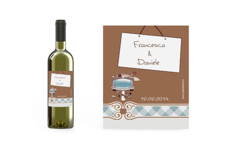 Etichette vino matrimonio collezione Stoccarda Etikett Weinflasche 4er Set blu