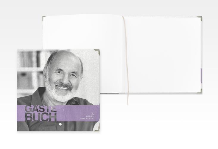 """Gästebuch Selection Geburtstag """"Banderole"""" Leinen-Hardcover flieder"""
