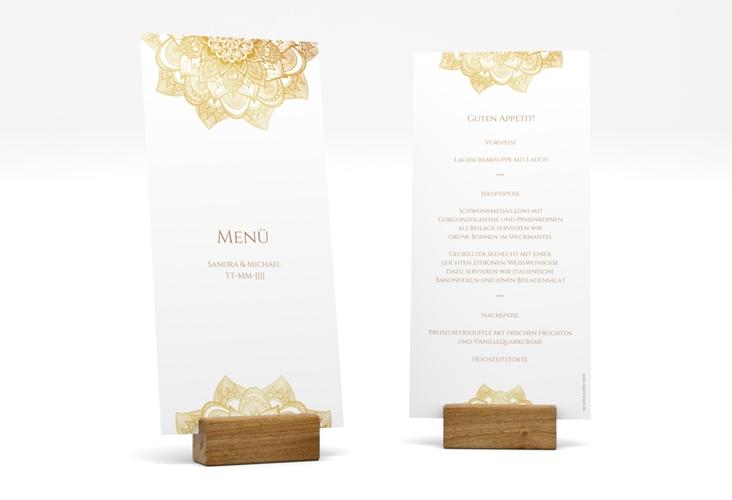 "Menükarte Hochzeit ""Delight"" DIN lang hoch gold"