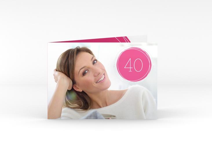 """Einladungskarte """"Twister"""" A6 Klappkarte Quer pink"""