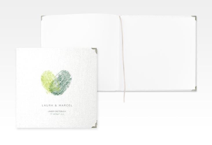 """Gästebuch Selection Hochzeit """"Fingerprint"""" Leinen-Hardcover gruen"""