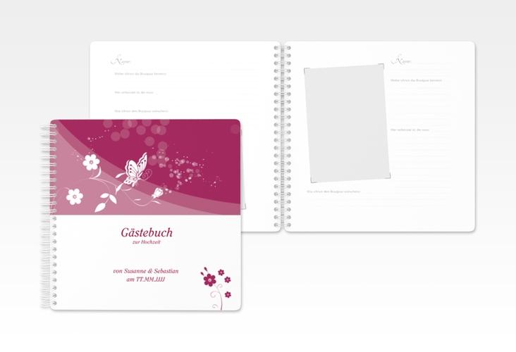 "Gästebuch Hochzeit ""Verona"" Ringbindung pink"