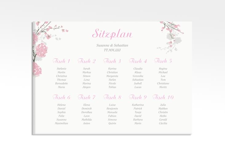 "Sitzplan Leinwand Hochzeit ""Salerno"" 70 x 50 cm Leinwand rosa"