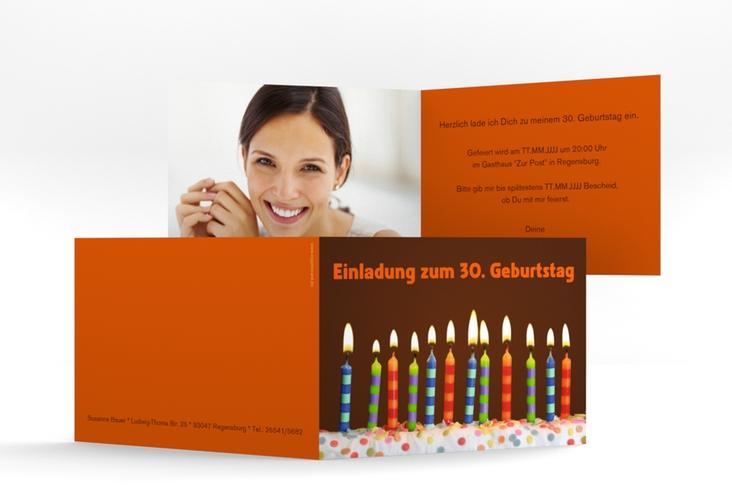"Einladungskarte ""Candles"" A6 Klappkarte Quer braun"