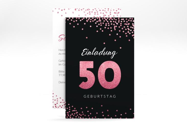"""Einladungskarte """"Glitzer"""" A6 hoch pink"""