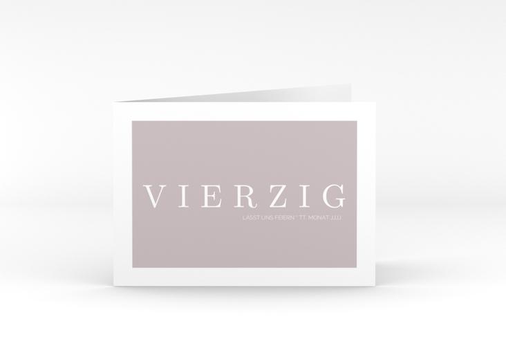 """Einladungskarte """"Schlicht"""" A6 Klappkarte Quer grau"""
