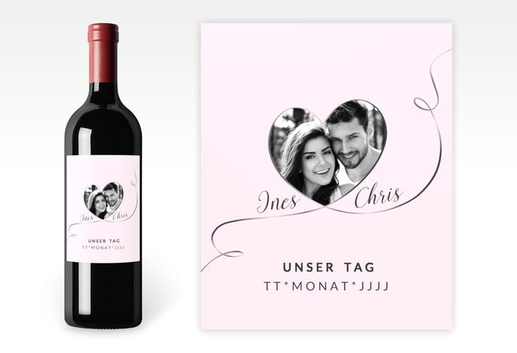"""Weinetikett zur Hochzeit """"Dolce"""" Etikett Weinflasche 4er Set rosa"""
